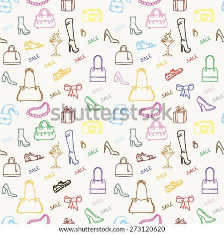 seamless texture shoes and bags, white background - stock vector
