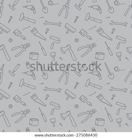 seamless texture tools, gray background - stock vector