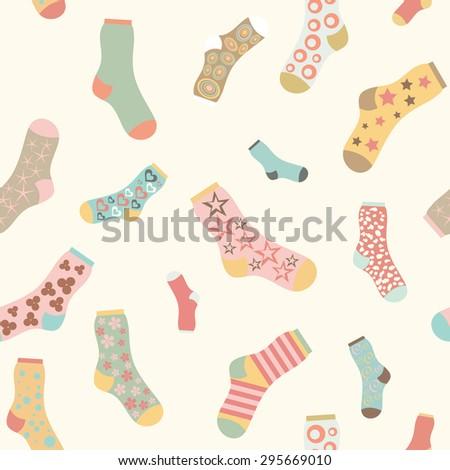 seamless texture vector background socks - stock vector