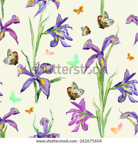 seamless texture. watercolor spring flowers. iris - stock vector
