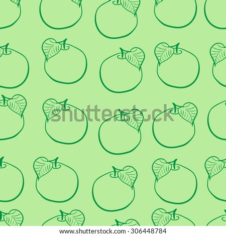 Seamless texture with apples contours and a leaf on a green background - stock vector