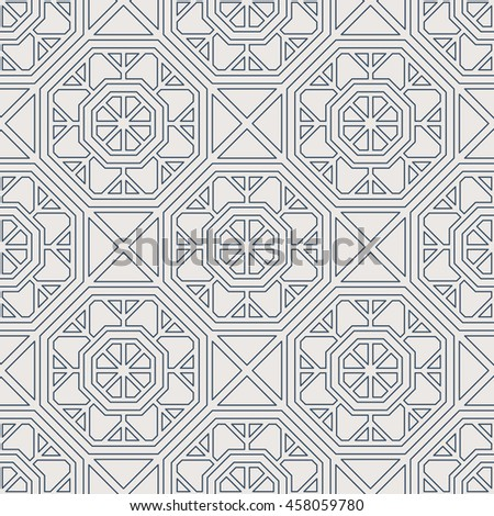 Seamless texture with arabic geometric ornament. Vector lineart pattern - stock vector