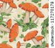 Seamless texture with autumn mushrooms - stock vector