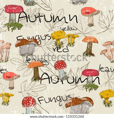 Seamless texture with autumn pattern. Vector illustration EPS8 - stock vector
