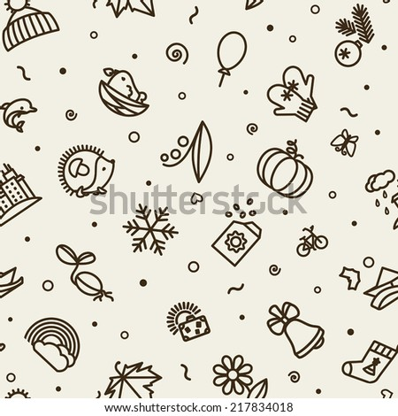 Seamless texture with badges - season.  Vector.