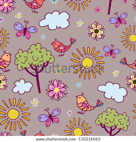 Seamless texture with birds and flowers.Seamless pattern can be used for wallpaper, pattern fills, web page background,surface textures.