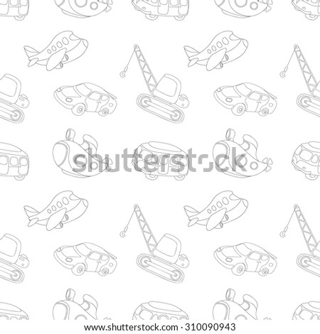 Seamless texture with black-white transport: submarine, car, bus, aircraft and crane. Vector illustration for kids