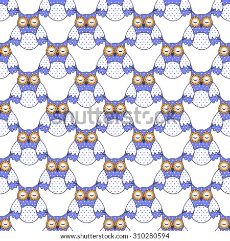 Seamless texture with blue owls on a white background - stock vector