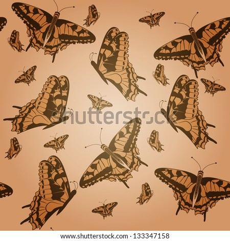 Seamless texture with butterflies. Vector illustration