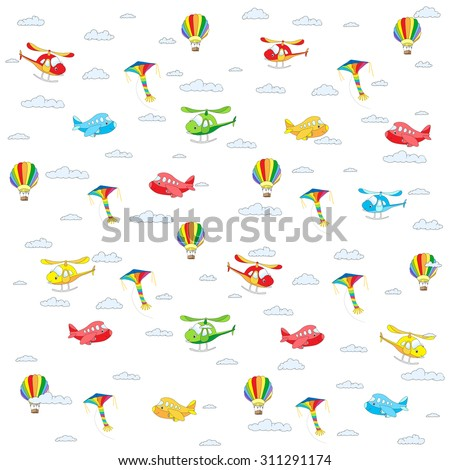 Seamless texture with cartoon transport. Helicopter, aircraft, balloon and kite in cloudy sky. Vector colorful background isolated on white - stock vector