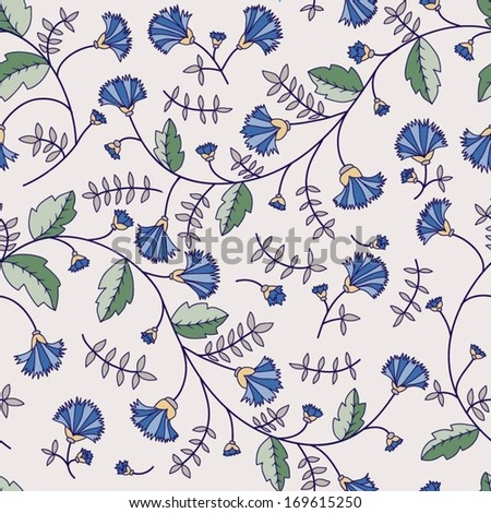 seamless texture with cornflower and leaves on a light background - stock vector