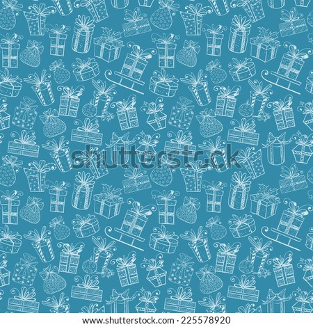 Seamless texture with cute white gift boxes on blue background. Can be used for wallpaper, pattern fills, textile, web page background, surface textures. Vector illustration.  - stock vector