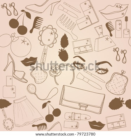 Seamless texture with elements of beauty and fashion. - stock vector