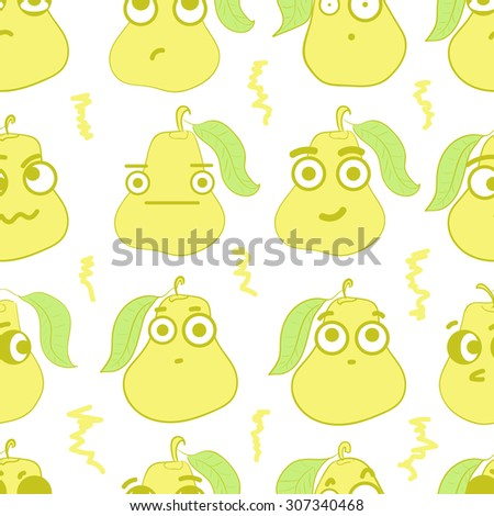 Seamless texture with emotional yellow big-eyed pears - stock vector