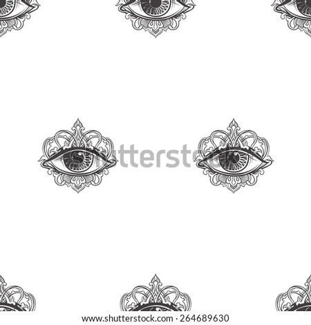 seamless texture with eyes on a white background - stock vector
