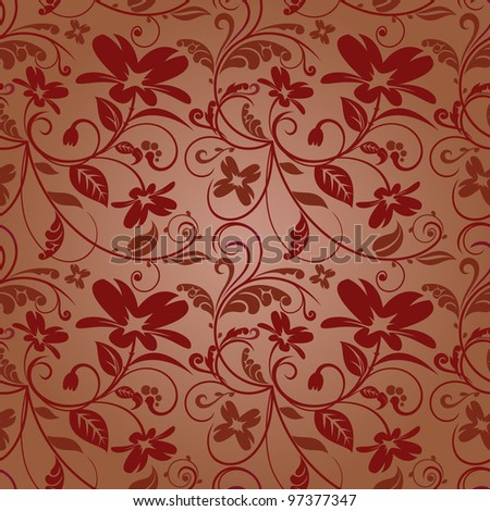 Seamless texture with floral ornaments in the maroon-brown coloring - stock vector
