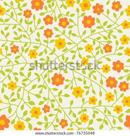 Seamless texture with flowers and butterflies. Endless floral pattern.