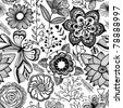 Seamless texture with flowers and butterflies. Endless floral pattern, black and white pattern. - stock vector
