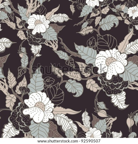 Seamless texture with flowers.  Endless floral pattern.  Background with flowers grunge texture  Vector background for textile design in vintage style