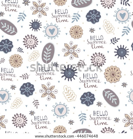 Seamless texture with flowers. Vector blooming doodle texture. Decoration with detailed flower. - stock vector