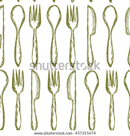 Seamless texture with Fork, Knife, Spoon in sketch style. Hand drawing cutlery pattern. Vector illustration - stock vector