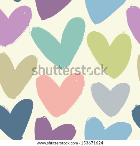 Seamless texture with funny hearts - stock vector
