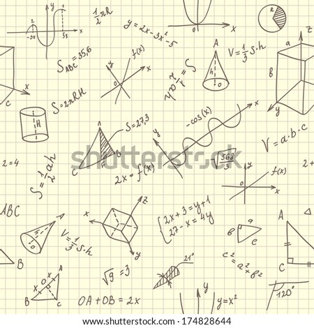 Seamless texture with geometrical figures and formulas (vector)