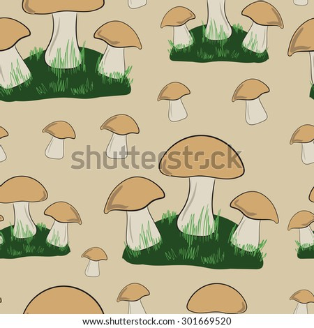 Seamless texture with glades of mushrooms and a grass - stock vector