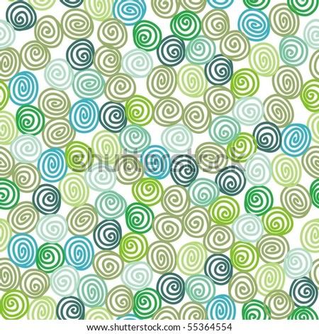 seamless texture with green flowers. Vector illustration. - stock vector