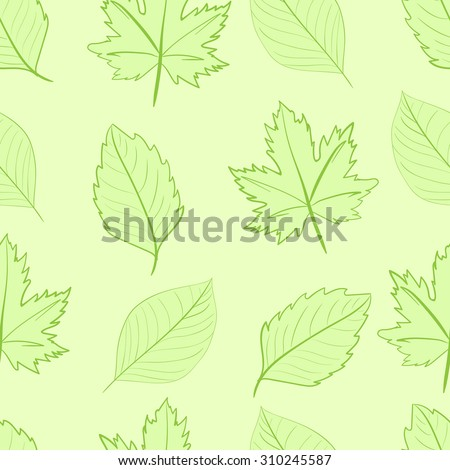 Seamless texture with green various leaves on the green