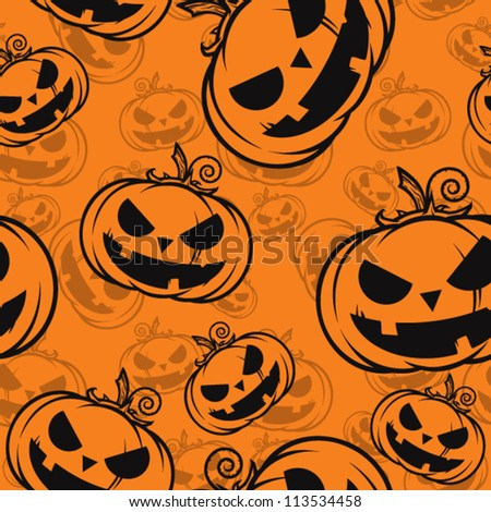 Seamless texture with halloween pumpkin.