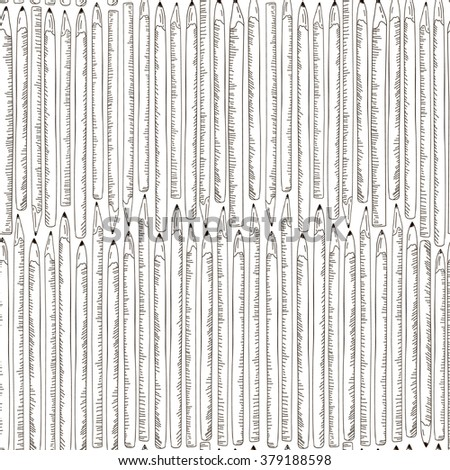 Seamless texture with hand drawn comic pencils. Template for design backgrounds, textile, wrapping paper, package - stock vector