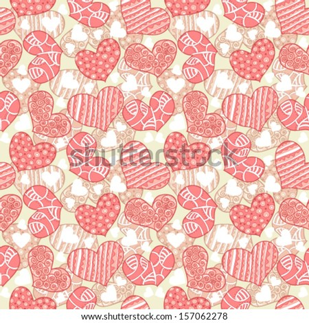 Seamless texture with hearts - stock vector