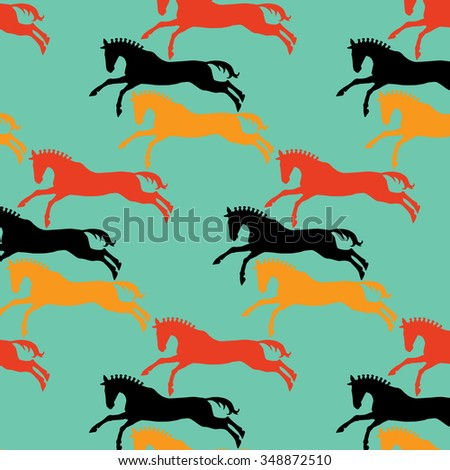 Seamless texture with Horses. Silhouette horse drawings. - stock vector