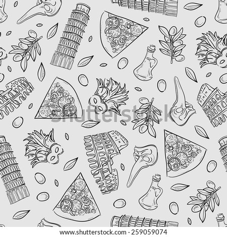 Seamless texture with Italy icons doodle hand drawn vector illustration - stock vector