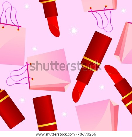 seamless texture with lipstick and glamorous bag
