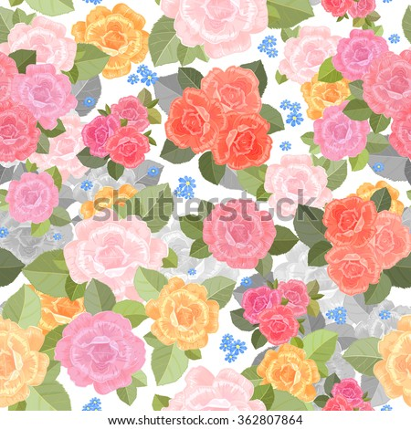 seamless texture with lovely of roses for your design.  - stock vector