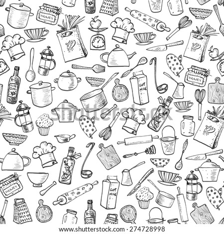 Seamless texture with of kitchen doodle sketch utensils hand-drawn with ink. Can be used for wallpaper, pattern fills, textile, web page background, surface textures.Vector illustration. - stock vector