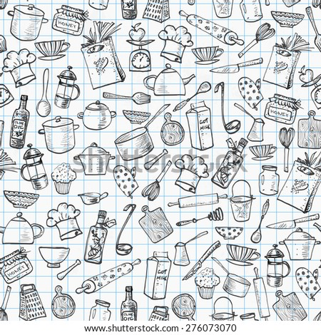Seamless orange texture kitchen doodle sketch stock vector for Kitchen print wallpaper