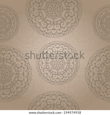 Seamless texture with ornamental round pattern. Vector art - stock vector