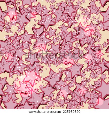 seamless texture with pink stars - stock vector