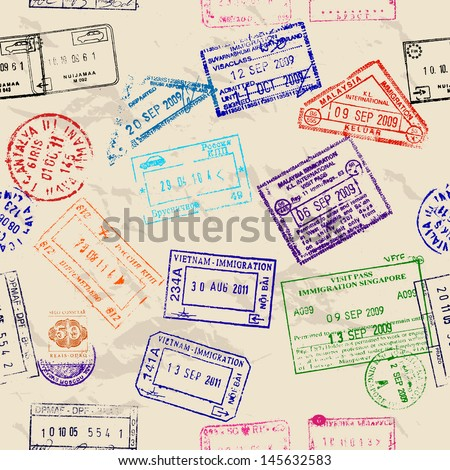Seamless texture with real visa stamps from 9 countries. Vector illustration EPS8