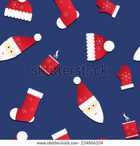 Seamless texture with Santa and red caps, mittens and socks