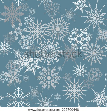 Seamless texture with snowflakes - stock vector
