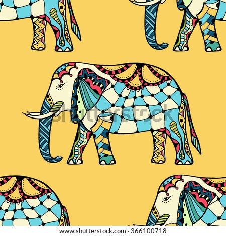 seamless texture with stylized patterned elephants in Indian style - stock vector