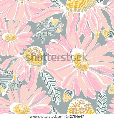 Seamless texture with summer flowers/gentle pink. Seamless pattern can be used for wallpaper, pattern fills, web page background,surface textures. Gorgeous seamless floral background.