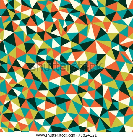 Seamless texture with triangles, mosaic endless pattern - stock vector