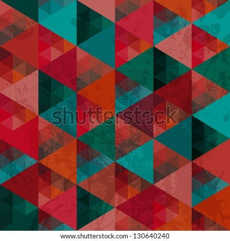 Seamless texture with triangles, mosaic endless pattern. That square design has the ability to be repeated or tiled without visible seams. - stock vector