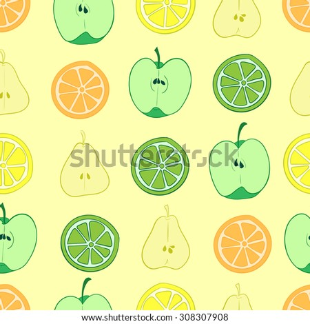 Seamless texture with various fruit in a section - stock vector