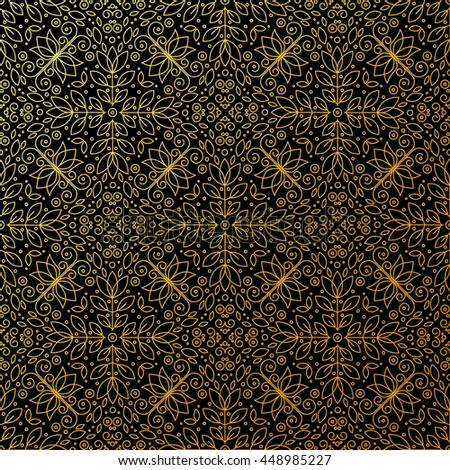 Seamless texture with vintage geometric ornament. Vector thin line art pattern.